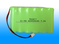 High Performance AA 2000mAh 7.2V 6 cells rechargeable NiMH battery pack