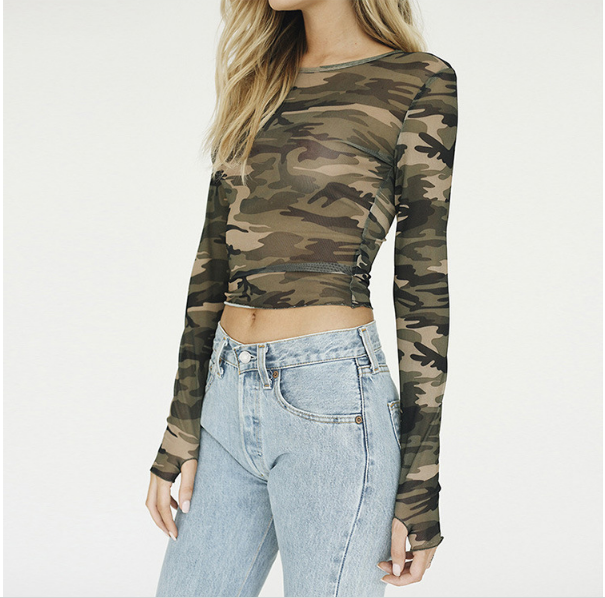 Sexy Perspective Camouflage T shirt Women Cropped Long Sleeve tshirt Womens Tops