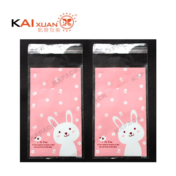 pink rabbit design small cookie bag self-adhesive