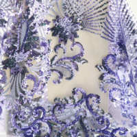 CUSTOMIZE transparent embroidery mesh sequin fabric bridal french tulle lace with sequins