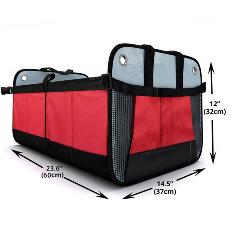 Smart Firm Base Sturdy Collapsible Oxford Fabric Foldable Two Compartment Premium Car Trunk Organizer
