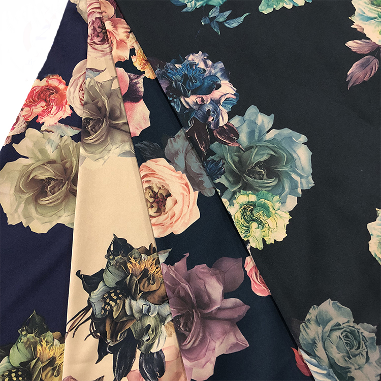 Textile Woven Silk Touched 97% Polyester 3% Spandex Bright Twisting Stretch Floral Printed Satin Fabric
