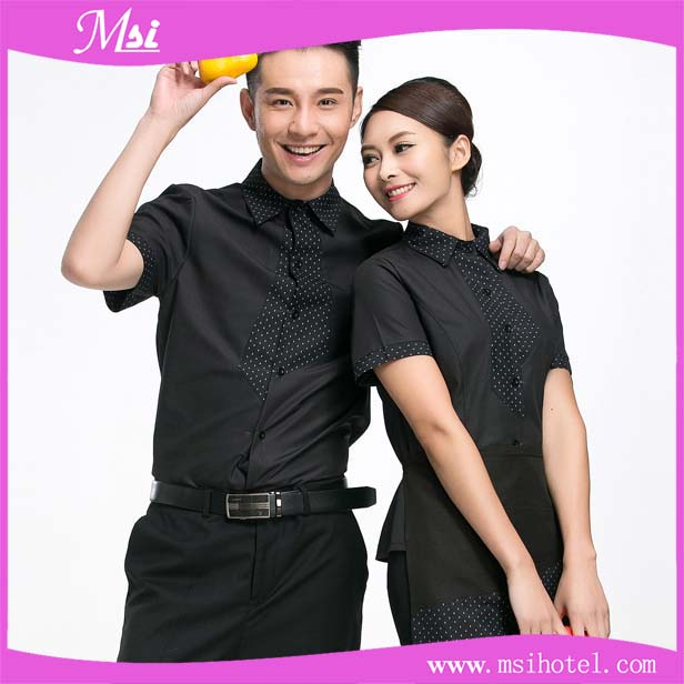 New design stylish good feeling short sleeves hotel restaurant waiter uniform