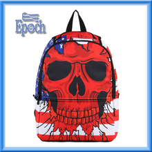 2016 New model school backpack bags China wholesale student school bags with skull pattern