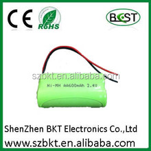 NI-MH Type and AA Size 2.4v Ni-mh AA 600mAh battery 600ma aa rechargeable ni-mh battery 1.2v
