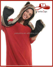 Winter Faux Fur Animal Hats Hoods Bear Brown Ski With Mittens Unisex Gloves Scarf Sets