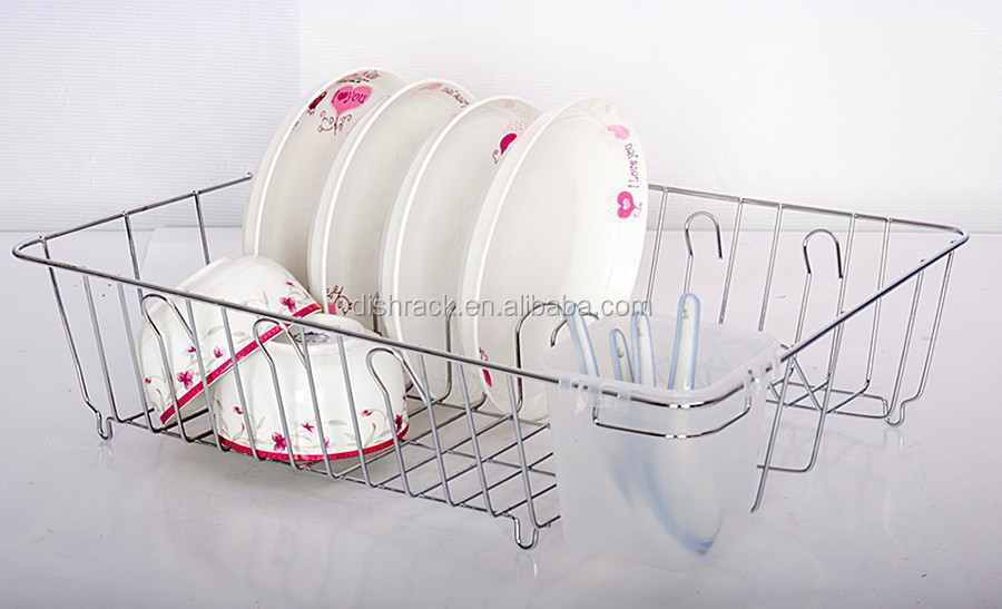 latest design large chrome metal wire dish plate cutlery holder kitchen drainer rack