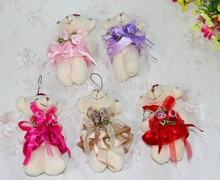 2016 promotional gift items cute plush jointed bear for bouquet teddy bear keychain