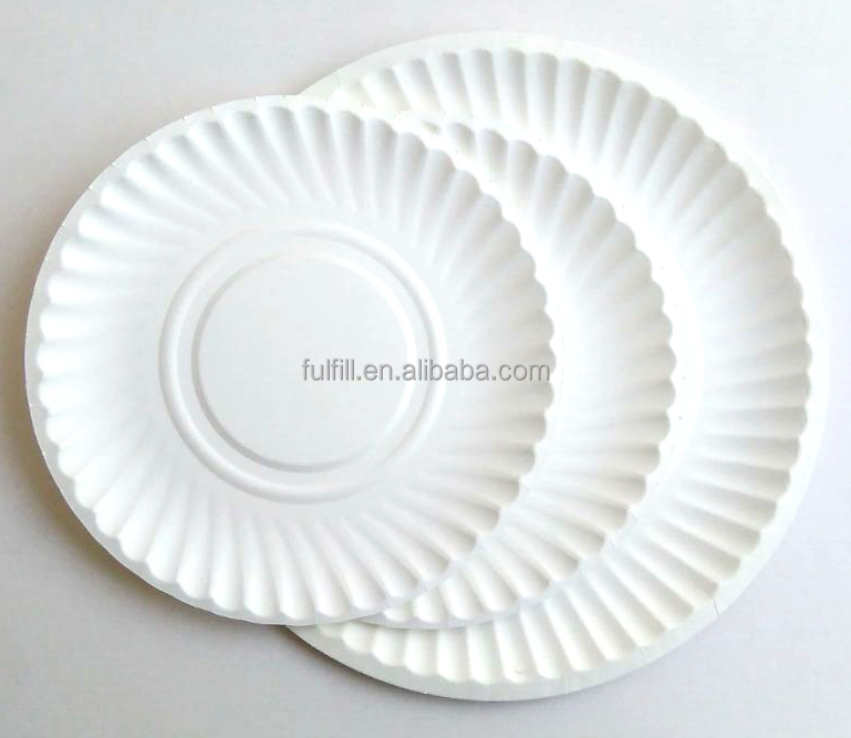 white party paper plate and dish/Disposable Paper Plate, Round Shape