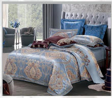 latest design purple color jacquard bedding set romantic bed sheet imitated silk luxury bed room set wholesale