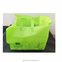 Custom printed clear handle plastic shopping carry bags for hot drink food packaging with low price