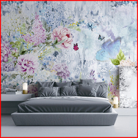 Floral Design Digital Printing Non-woven Mural Wallpaper 3D