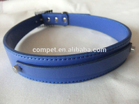 2.5cm Width Blue Matte Finish PU Leather Diy Dog Pet Collar with Short Slider Letter Charm Strap