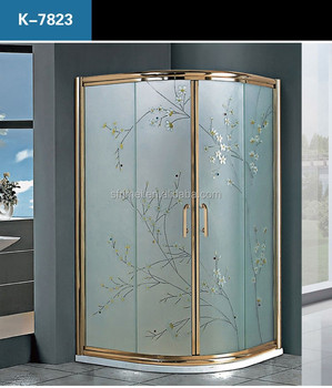 K-7823 luxury design gold frame free standing shower room security guard cabin