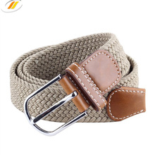 Durable Strong Elastic Western Mens Braided Belt with Pin Buckle