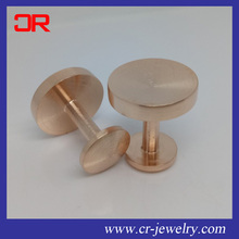 Super quality Rose gold plating Round Shape Stainless steel Blank Cufflinks for men