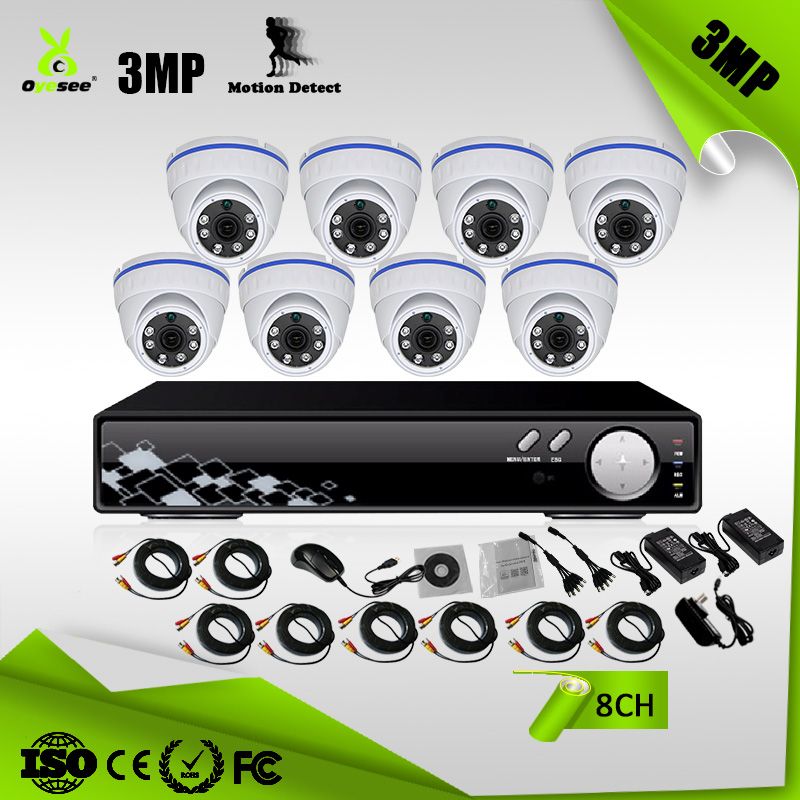 OKAHD1530-B8 CCTV Security home camera systems with 3 MP IP66 Camera 8 CH Ahd DVR