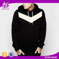 2017 Guangzhou Shandao Wholesale Autumn Street Fashion Mens Black Cotton Elastane Fleece Custom Screen Printing Fitted Hoodie