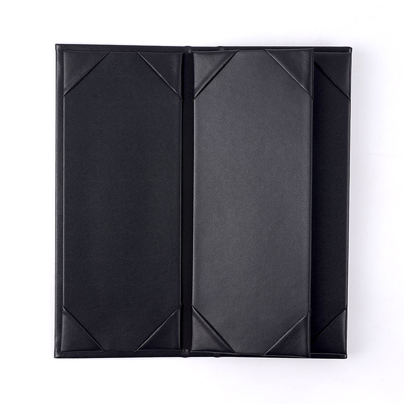 "Leather Book Style Fold Panel Menu Cover Menu Holder Black 11.4"" x 5"""