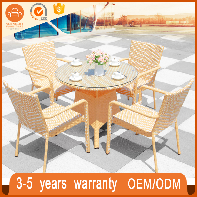 2017 garden furniture glass top rattan table and chair wicker dining 4chairs chinese restaurant round table furniture