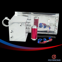 PQY RACING- 5L Aluminum fuel surge tank/fuel tank/fuel cell 5L polished AN fittings + pump mount + filter + hose PQY-TK45