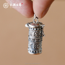 Pure silver amulet box pendant that can exorcise evil spirits with six-word for men and women