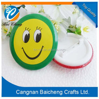 popular smile face round pin badges of plastic and tinplate material of low cost for your customized design making in China