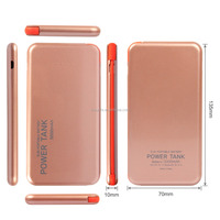 Slim External Battery Charger Pack/Mobile Power Bank 5000mAh Built-in Micro USB Cable with 8-pin Adapter/Micro USB Port