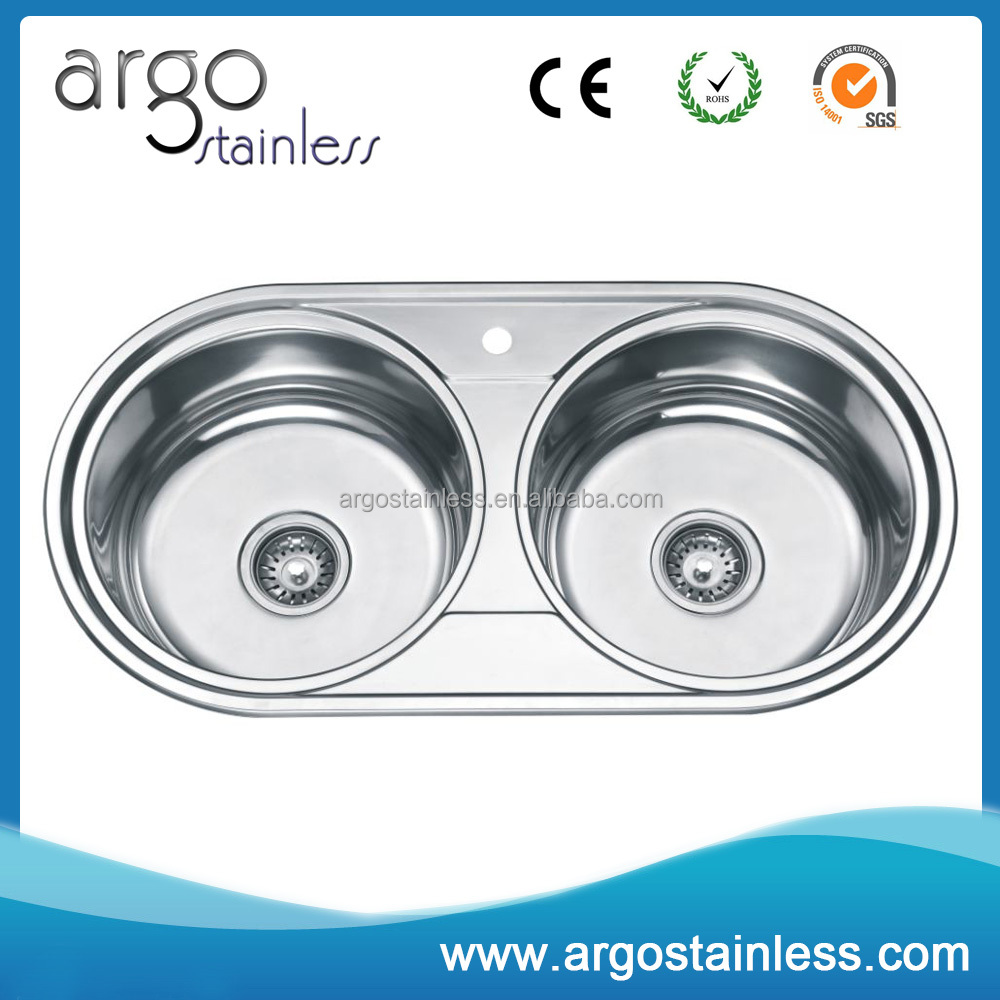 Hot sale 201 stainless steel double round bowl kitchen sink