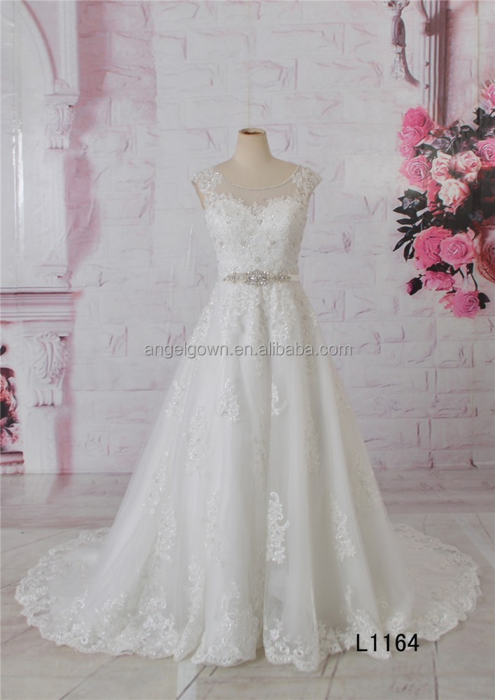 See-through back sleeveless beaded sash A-line lace wedding gown