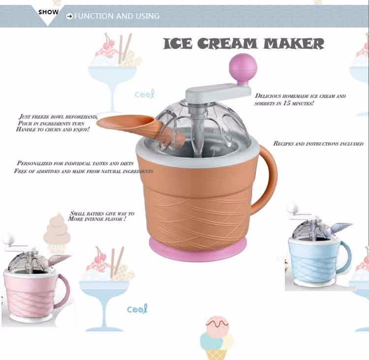 Mini Home use mechanical fruit soft ice cream maker