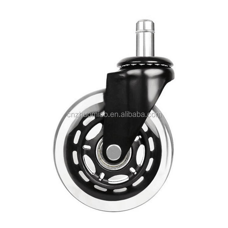 zhuomiao 3inch rollerblade transparent rubber office chair caster wheel furniture caster