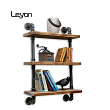 Antique Industrial Wall Mount metal Iron Pipe <strong>Shelf</strong> bookcase Vintage Retro DIY Bookshelf home floating Storage book <strong>Shelves</strong>