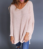 New Arrival V-neck Long Sleeve Knitted Blouse Tops Sweater