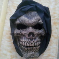 X-MERRY Foam Latex Skull Mask With Black Hood Scary Halloween Fancy Dress Mask