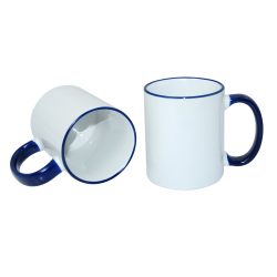 11oz Sublimation Blanks Rim Handle Blue Ceramic Mugs