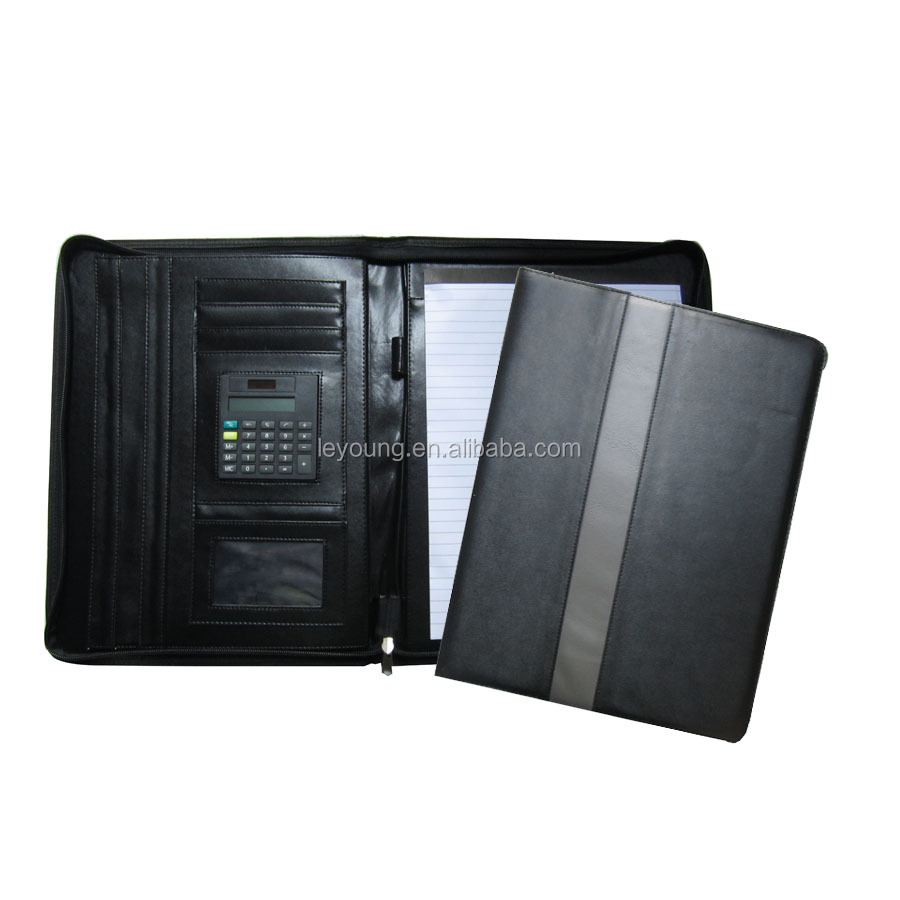 Zipper A4 PU Leather Portfolio Holder File Folder with Calculator