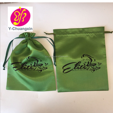Customized logo printing green satin bags hair in packaging bags