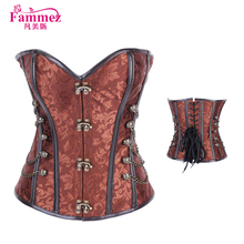 Classical 2837 coffee leather corset plus size corset from China supplier