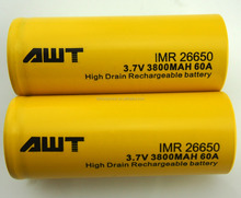 China supplier AWT 26650 3800mah 3.7v 60A tattoo lipo battery batteries 3.6v 1400mah for vapor pipes e pipe 618