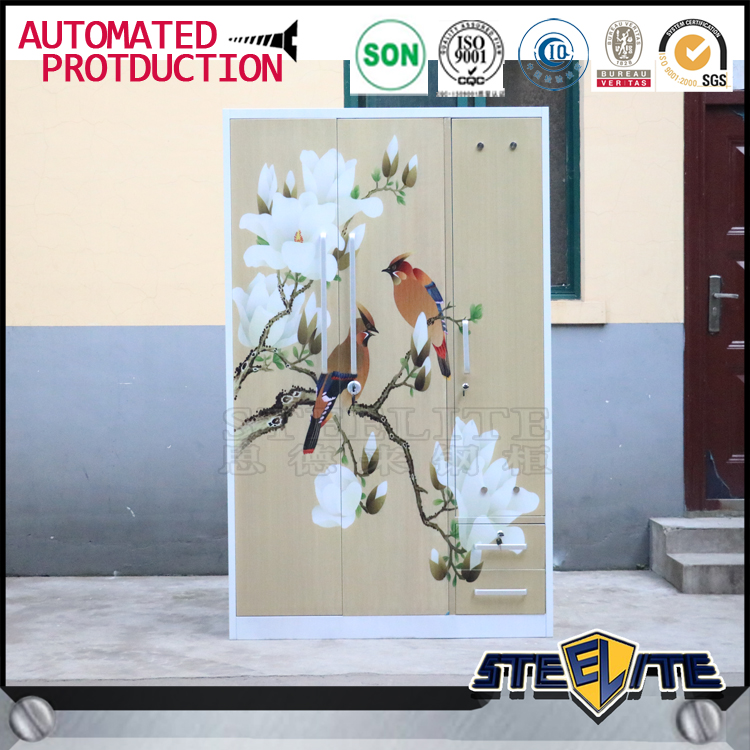 2016 style Cambodia metal wardrobe custom diy portable closet 3 door wardrobe