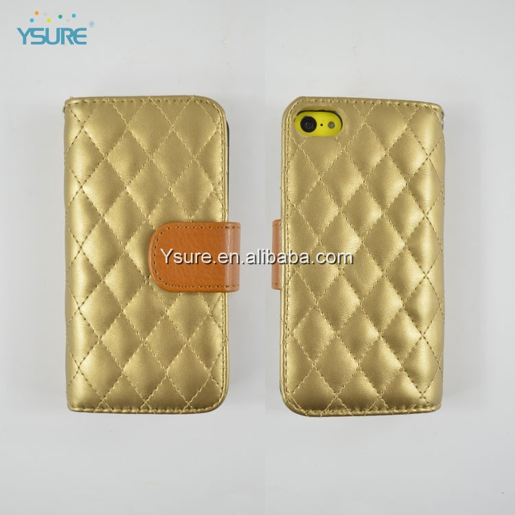 golden leather phone case with card holder for Iphone 5C