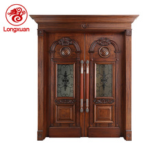 Luxury design iron sound proof entry wooden double door designs