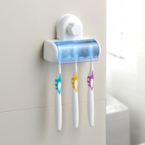 Bathroom Home Dust Proof Plastic Rack Adsorption Toothbrush Holder