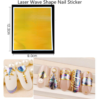 Popular Nail Art Decoration Shining Colorful Wave Shape Nail Sticker DIY Manicure Dacels For Art Salon