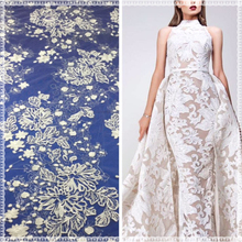 White elegant style ladies floral evening dress textile embroidery 3d lace fabric
