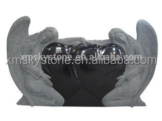 Double Angle Sculpture Heart Shaped Polished Absolute Black Granite Headstone