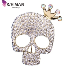 Gold Rhinestone Vintage Skull Brooches and Pins