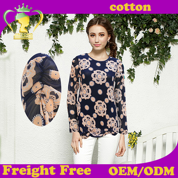 Autumn and winter fashion printed cotton woman blouse 2016