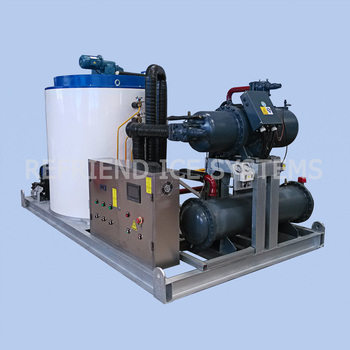 20T Industrial Flake Ice Plant With Water Chiller Designed For Tropical Hot Climate